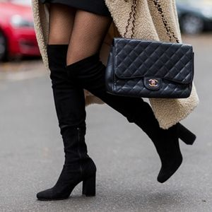 ZARA black suede knee high boots